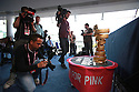 Members of the international press photograph the Giro d'Italia trophy at Belfast's Waterfront Hall, Belfast, Northern Ireland, Friday 9th May, 2014.  Ireland will host three days of cycling action from 9 to 11 May 2014.