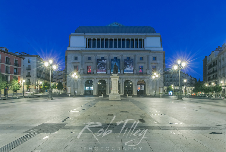 Spain, Madrid, Teatro Real (Royal Opera House) at Dawn