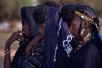 Akadaney, Central Niger, West Africa.  Fulani Nomads.  Three Fulani Women.