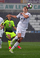 Pictured: Joe Rodon of Swansea City heads the ball Monday 15 May 2017<br /> Re: Premier League Cup Final, Swansea City FC U23 v Reading U23 at the Liberty Stadium, Wales, UK