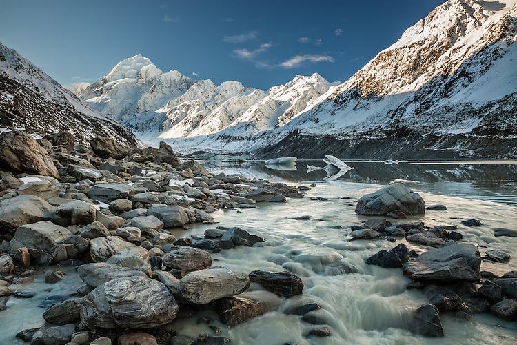 Hooker Lake, River, Aoraki / Mount Cook, South Island, New Zealand - stock photo, canvas, fine art print