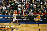 23 MAR 2012:  Sequoyah Griffin (10) center, of Shaw University leaps towards the scorers table trying to save a loose ball as Alyssa Miller (12) left, of Ashland University looks on during the Division II Womens Basketball Championship held at Bill Greehey Arena in San Antonio, TX.  Shaw University defeated Ashland University 88-82 for the national title.  Rodolfo Gonzalez/ NCAA Photos