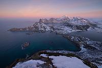 January winter twilight over the mountains of Vestvågøy, Lofoten Islands, Norway