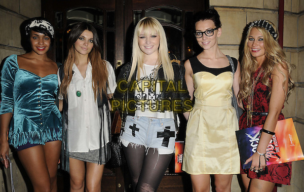 """PARADE.The """"Rock Of Ages The Musical"""" gala night, Shaftesbury theatre, Shaftesbury Avenue, London, England..28th September 2011.half length Emily Biggs Lauren Deegan Bianca Claxton Jessica Agombar Sian Charlesworth band group girl girlband yellow blue dress red white shirt cutoff denim shorts glasses .CAP/CAN.©Can Nguyen/Capital Pictures."""