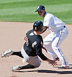 Reno Aces shortstop Wladimir Sutil tags out Sacramento River Cats runner Wes Timmons during their play off game played on Sunday afternoon, September 9, 2012 in Reno, Nevada.