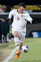 COLLEGE PARK, MD - NOVEMBER 15: Justin Gielen #9 of Maryland controls a high ball during a game between Indiana University and University of Maryland at Ludwig Field on November 15, 2019 in College Park, Maryland.