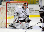 3 January 2009: Colgate Raiders' goaltender Alex Evin, a Freshman from Castlegar, B.C., makes a save against the Ferris State Bulldogs during the consolation game of the 2009 Catamount Cup Ice Hockey Tournament hosted by the University of Vermont at Gutterson Fieldhouse in Burlington, Vermont. The two teams battled to a 3-3 draw, with the Bulldogs winning a post-game shootout 2-1, thus placing them third in the tournament...Mandatory Photo Credit: Ed Wolfstein Photo
