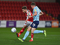 Fleetwood Town's Conor McAleny battles with Accrington Stanley's Ben Barclay<br /> <br /> Photographer Dave Howarth/CameraSport<br /> <br /> Leasing.com Trophy Northern Section Round Three - Fleetwood Town v Accrington Stanley - Tuesday 7th January 2020 - Highbury Stadium - Fleetwood<br />  <br /> World Copyright © 2018 CameraSport. All rights reserved. 43 Linden Ave. Countesthorpe. Leicester. England. LE8 5PG - Tel: +44 (0) 116 277 4147 - admin@camerasport.com - www.camerasport.com
