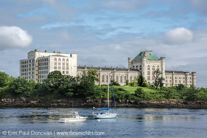 Looking across the Piscataqua River at the old Portsmouth Naval Prison on Seavey Island in Kittery, Maine from Route 1B in Portsmouth, New Hampshire.