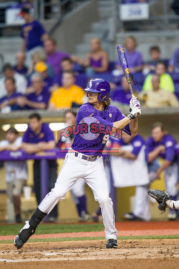 LSU Tigers outfielder Mark Laird (9) at bat during a Southeastern Conference baseball game against the Texas A&M Aggies on April 24, 2015 at Alex Box Stadium in Baton Rouge, Louisiana. LSU defeated Texas A&M 9-6. (Andrew Woolley/Four Seam Images)