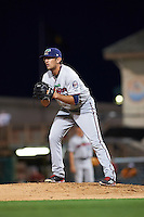 Fort Myers Miracle relief pitcher Todd Van Steensel (21) gets ready to deliver a pitch during a game against the Bradenton Marauders on April 9, 2016 at McKechnie Field in Bradenton, Florida.  Fort Myers defeated Bradenton 5-1.  (Mike Janes/Four Seam Images)