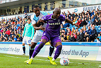 Stoke City's Benik Afobe holds off the challenge from Blackburn Rovers' Amari'i Bell<br /> <br /> Photographer Alex Dodd/CameraSport<br /> <br /> The EFL Sky Bet Championship - Blackburn Rovers v Stoke City - Saturday 6th April 2019 - Ewood Park - Blackburn<br /> <br /> World Copyright © 2019 CameraSport. All rights reserved. 43 Linden Ave. Countesthorpe. Leicester. England. LE8 5PG - Tel: +44 (0) 116 277 4147 - admin@camerasport.com - www.camerasport.com