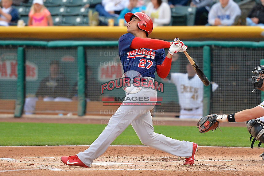 Thomas Pham (27) of the Memphis Redbirds at bat against the Salt Lake Bees at Smith's Ballpark on June 18, 2014 in Salt Lake City, Utah.  (Stephen Smith/Four Seam Images)