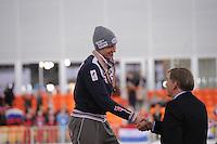 SPEEDSKATING: SOCHI: Adler Arena, 22-03-2013, Essent ISU World Championship Single Distances, Day 2, podium 5000m Men, Ivan Skobrev (RUS), Jan Dijkema (ISU 2nd Vice President Speed Skating), © Martin de Jong