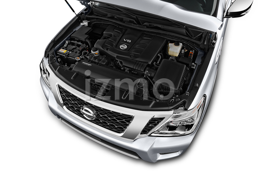 Car stock 2018 Nissan Armada SV 5 Door SUV engine high angle detail view
