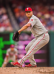 6 September 2014: Philadelphia Phillies pitcher Jonathan Papelbon closes out the game against the Washington Nationals at Nationals Park in Washington, DC. The Nationals fell to the Phillies 3-1 in the second game of their 3-game series. Mandatory Credit: Ed Wolfstein Photo *** RAW (NEF) Image File Available ***