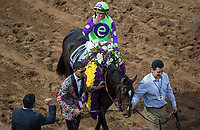 DEL MAR, CA - NOVEMBER 03: Javier Castellano, aboard Rushing Fall #11, blows kisses to the crowd after his in during the the Breeders' Cup Juvenile Fillies Turf on Day 1 of the 2017 Breeders' Cup World Championships at Del Mar Thoroughbred Club on November 3, 2017 in Del Mar, California. (Photo by Ting Shen/Eclipse Sportswire/Breeders Cup)