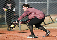 NWA Democrat-Gazette/CHARLIE KAIJO Springdale High School first baseman makes a catch during a softball game, Thursday, March 13, 2019 at Bentonville West High School in Centerton.