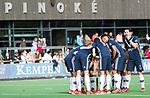 AMSTELVEEN - Overleg bij strafcorner voor Pinoke . Hoofdklasse competitie heren. Pinoke-SCHC (0-1) . COPYRIGHT  KOEN SUYK