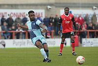 Anthony Stewart of Wycombe Wanderers strikes at goal against Morecambe during the Sky Bet League 2 match between Morecambe and Wycombe Wanderers at the Globe Arena, Morecambe, England on 29 April 2017. Photo by Stephen Gaunt / PRiME Media Images.