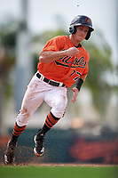 Baltimore Orioles second baseman Rylan Bannon (77) runs the bases during a Florida Instructional League game against the Pittsburgh Pirates on September 22, 2018 at Ed Smith Stadium in Sarasota, Florida.  (Mike Janes/Four Seam Images)