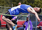 "LEAD, S.D. -- MAY 4, 2013 -- David Nelson of Hot Springs clears the high jump during the 2013 Mountain West Invitational T&F Meet at Mountain Top in Lead, S.D. Saturday.  Nelson placed second in the event with a jump of 5' 8"".  (Photo by Richard Carlson/dakotapress.org)"