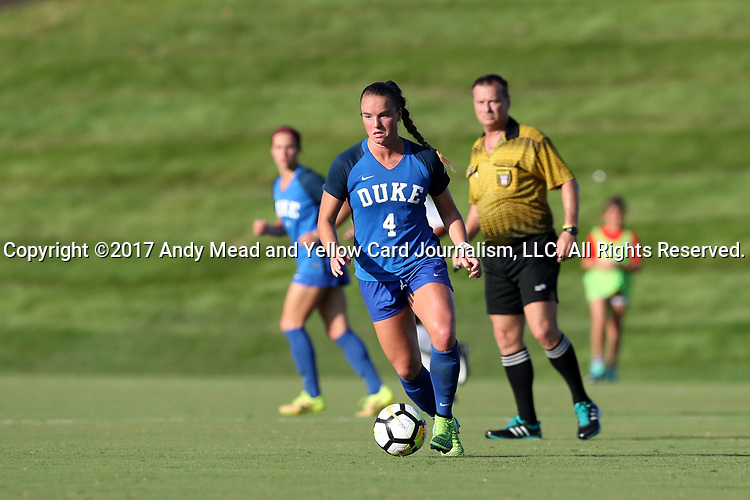 CARY, NC - AUGUST 18: Duke's Ashton Miller. The University of North Carolina Tar Heels hosted the Duke University Blue Devils on August 18, 2017, at Koka Booth Stadium in Cary, NC in a Division I college soccer game.