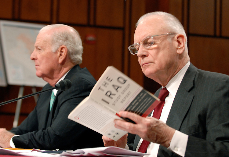 Lee Hamilton, right, and James Baker, co-chairmen of the Iraq study Group, prepare for a continuing hearing on alternative plans for Iraq.  James Baker, co-chairman of the Iraq study Group, appears at left.