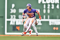 Clemson Tigers left fielder Reed Rohlman (26) leads off second during a game against the South Carolina Gamecocks at Fluor Field on March 5, 2016 in Greenville, South Carolina. The Tigers defeated the Gamecocks 5-0. (Tony Farlow/Four Seam Images)