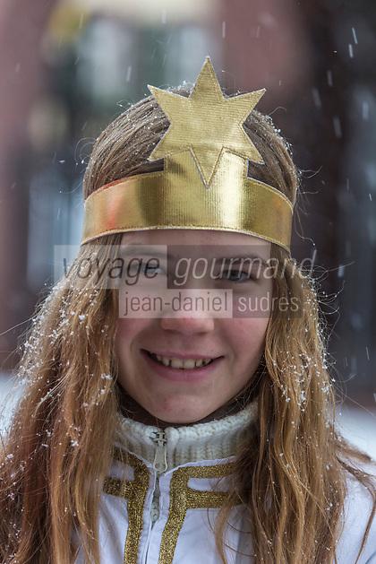Europe/Allemagne/Bade-Würrtemberg/Forêt Noire/Haslach:  Défilé traditionnel avec l'âne: Biggeresel, coutume de la Saint Nicolas _ Portrait d'un ange