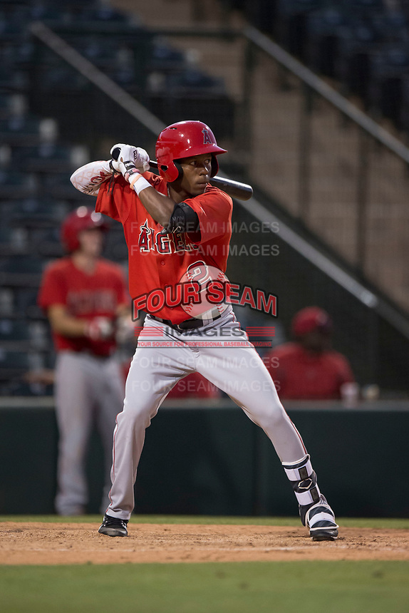 AZL Angels designated hitter Drevian Williams-Nelson (2) at bat during an Arizona League game against the AZL Diamondbacks at Tempe Diablo Stadium on June 27, 2018 in Tempe, Arizona. The AZL Angels defeated the AZL Diamondbacks 5-3. (Zachary Lucy/Four Seam Images)