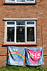 Pro NHS banners outside housing in Norwich on day 4 of the Coronavirus pandemic lock down, UK March 2020