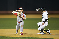 Danny Glendon (28) of the Sacred Heart Pioneers holds on to the ball after forcing out Michael Ludowig (22) of the Wake Forest Demon Deacons at second base at David F. Couch Ballpark on February 15, 2019 in  Winston-Salem, North Carolina.  The Demon Deacons defeated the Pioneers 14-1. (Brian Westerholt/Four Seam Images)