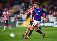 Lincoln City's Shay McCartan vies for possession with Crewe Alexandra's George Ray<br /> <br /> Photographer Andrew Vaughan/CameraSport<br /> <br /> The EFL Sky Bet League Two - Lincoln City v Crewe Alexandra - Saturday 6th October 2018 - Sincil Bank - Lincoln<br /> <br /> World Copyright &copy; 2018 CameraSport. All rights reserved. 43 Linden Ave. Countesthorpe. Leicester. England. LE8 5PG - Tel: +44 (0) 116 277 4147 - admin@camerasport.com - www.camerasport.com