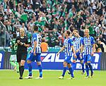 10.09.2017, OLympiastadion, Berlin, GER, 1.FBL, Hertha BSC VS. SV Werder Bremen, im Bild <br /> Vedad Ibisevic (Hertha BSC Berlin #19), Vladimir Darida (Hertha BSC Berlin #6), Per Skelbred (Hertha BSC Berlin #3), Schiedsrichterin  Bibiane Steinhaus<br /> <br /> <br />       <br /> Foto &copy; nordphoto / Engler
