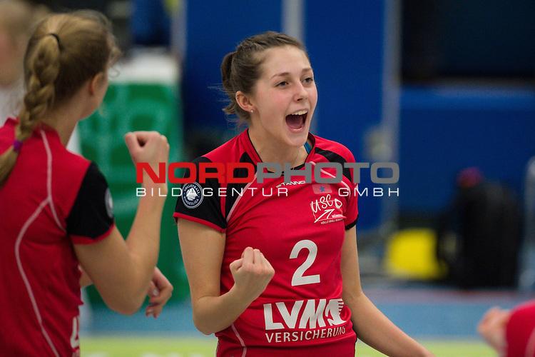 21.02.2015, Halle Berg Fidel, Muenster<br /> Volleyball, Bundesliga Frauen, USC M&uuml;Ÿnster / Muenster vs. Rote Raben Vilsbiburg<br /> <br /> Jubel Ashley Benson (#10 Muenster), Irina Kemmsies (#2 Muenster)<br /> <br />   Foto &copy; nordphoto / Kurth