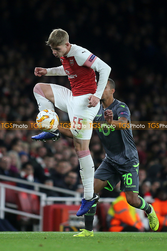 Emile Smith Rowe of Arsenal in action during Arsenal vs Sporting Lisbon, UEFA Europa League Football at the Emirates Stadium on 8th November 2018