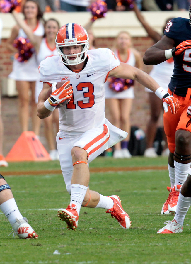 Clemson wide receiver Adam Humphries (13) during and NCAA football game at Scott Stadium in Charlottesville, VA. Clemson defeated Virginia 59-10. Photo/Andrew Shurtleff