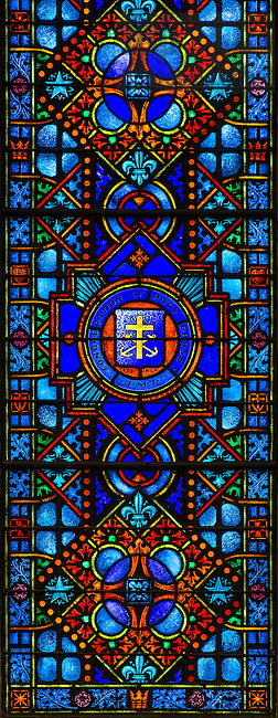 Mar. 5, 2014; Congregation of Holy Cross seal in a stained glass window at Holy Cross Church in South Bend, IN.<br /> <br /> Photo by Matt Cashore/University of Notre Dame