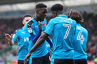 Fleetwood Town's Jordy Hiwula celebrates scoring his side's first goal with team-mates <br /> <br /> Photographer Andrew Kearns/CameraSport<br /> <br /> The EFL Sky Bet League One - Plymouth Argyle v Fleetwood Town - Saturday 7th October 2017 - Home Park - Plymouth<br /> <br /> World Copyright &copy; 2017 CameraSport. All rights reserved. 43 Linden Ave. Countesthorpe. Leicester. England. LE8 5PG - Tel: +44 (0) 116 277 4147 - admin@camerasport.com - www.camerasport.com