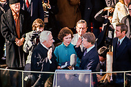 20 Jan 1977, Washington, DC, USA --- Chief Justice of the Supreme Court Warren E. Burger administers the Oath of Office to Jimmy Carter during his presidential inauguration. --- Image by © JP Laffont