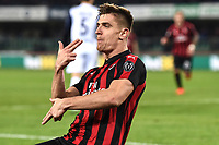 Krzysztof Piatek of AC Milan celebrates after scoring the goal of 1-2 <br /> Verona 9-03-2018 Stadio Bentegodi Football Serie A 2018/2019 Chievo Verona - AC Milan <br /> photo Image Sport / Insidefoto