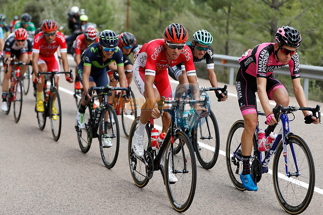 The breakaway group in action during Stage 7 of the 2017 La Vuelta, running 207km from Ll&iacute;ria-Cuenca, Spain. 25th August 2017.<br /> Picture: Unipublic/&copy;photogomezsport | Cyclefile<br /> <br /> <br /> All photos usage must carry mandatory copyright credit (&copy; Cyclefile | Unipublic/&copy;photogomezsport)