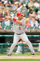 Albert Pujols (5) of the Los Angeles Angels at bat against the Detroit Tigers at Comerica Park on June 25, 2013 in Detroit, Michigan.  The Angels defeated the Tigers 14-8.  (Brian Westerholt/Four Seam Images)