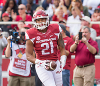 Hawgs Illustrated/BEN GOFF <br /> Devwah Whaley, Arkansas wide receiver, scores a touchdown in the first quarter against Coastal Carolina Saturday, Nov. 4, 2017, at Reynolds Razorback Stadium in Fayetteville.
