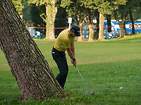 Thomas Pieters (BEL) in action on the 1st hole during the third round of the 76 Open D'Italia, Olgiata Golf Club, Rome, Rome, Italy. 12/10/19.<br /> Picture Stefano Di Maria / Golffile.ie<br /> <br /> All photo usage must carry mandatory copyright credit (© Golffile | Stefano Di Maria)