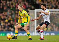 Norwich City's Todd Cantwell is pressured by Bolton Wanderers' Jason Lowe<br /> <br /> Photographer David Shipman/CameraSport<br /> <br /> The EFL Sky Bet Championship - Norwich City v Bolton Wanderers - Saturday 8th December 2018 - Carrow Road - Norwich<br /> <br /> World Copyright &copy; 2018 CameraSport. All rights reserved. 43 Linden Ave. Countesthorpe. Leicester. England. LE8 5PG - Tel: +44 (0) 116 277 4147 - admin@camerasport.com - www.camerasport.com