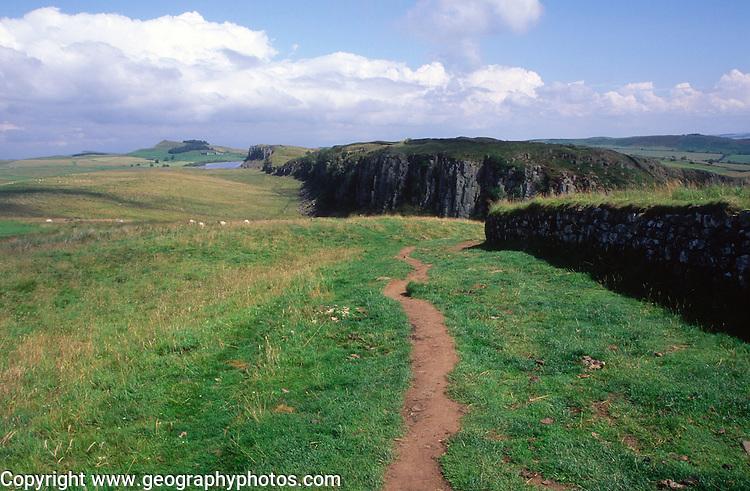 The Pennine Way leading towards Steel Rigg, Hadrian's Wall, Northumberland, England