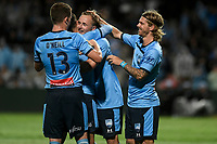 17th November 2019; Jubilee Oval, Sydney, New South Wales, Australia; A League Football, Sydney Football Club versus Melbourne Victory; Rhyan Grant of Sydney congratulates Kosta Barbarouses of Sydney after he scores to make it 2-1 in the 68th minute