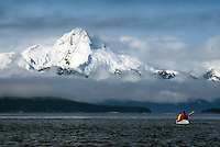 Marinke Van Gilder kayaks toward Mt. Golub in southeast Alaska. M